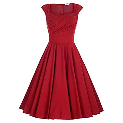 Belle Poque Sweetheart 50s Style Vintage Dress for Women Red Size M BP187-2