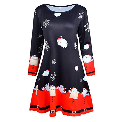 n's Vintage Dresses,Xmas Print Long Sleeve Santa Outfit ()