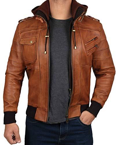 Blingsoul Mens Hooded Leather Bomber Jacket | [1100155] Edinburgh Brown, XL