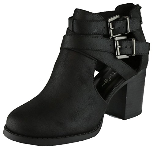 Cambridge Select Women's Side Cut Out Buckle Chunky Stacked Heel Ankle Bootie (8 B(M) US, Black PU)