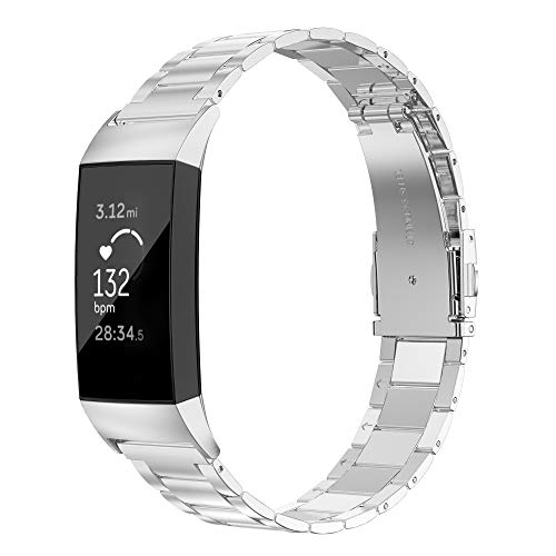 Wearlizer Stainless Steel Band Compatible for Fitbit Charge 3 Bands/Charge 3 SE Women Men,Ultra-Thin Lightweight Replacement Band Strap Wristbands Accessories for Charge 3 Silver ()