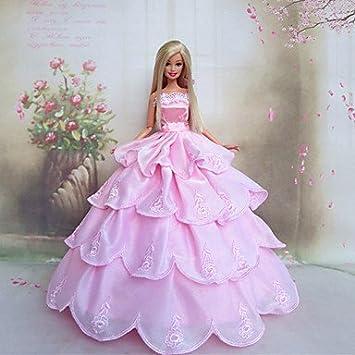 barbie vestido de novia de princesa en rosa romántico