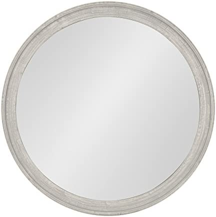 Kate and Laurel Mansell Round Wooden Decorative Accent Wall Mirror, 28-inch Diameter, Distressed Gray
