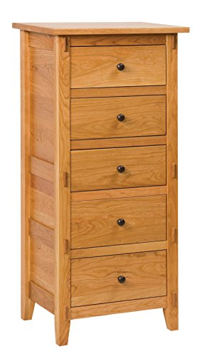 Amish Heirlooms Bungalow Solid Maple Lingerie Chest with 5 Drawers, 18
