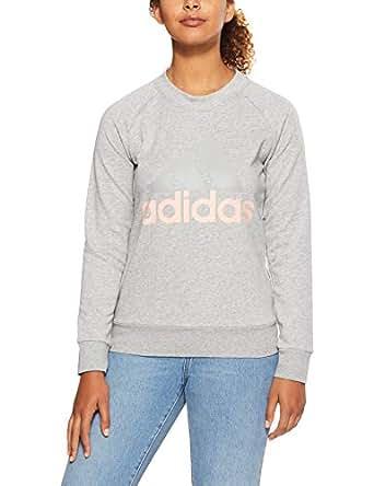 adidas Women's CZ5722 Essetnials Linear Sweatshirt, Medium Grey Heather/Haze Coral, XS