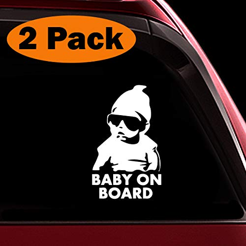 (TOTOMO Baby on Board Sticker - (Set of 2) Funny Safety Caution Decal Sign with Carlos from The Hangover for Car Windows and Bumpers ALI-019)