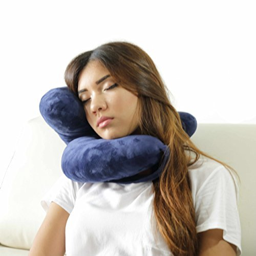 Daisy Travel Pillow Holds Head Like Magic. This Patent Pending, Simple and Clever New 2016 Invention Will Surprise You. Comfortable and Supporting Airplane Pillow, Plane Travel Pillow and Car Pillow by Daisy Pillow