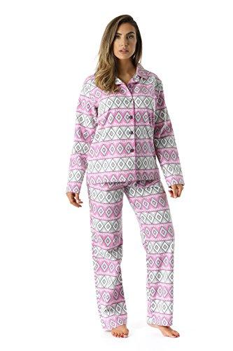 #followme 6371-10228-1X Printed Flannel Button Front PJ Pant -