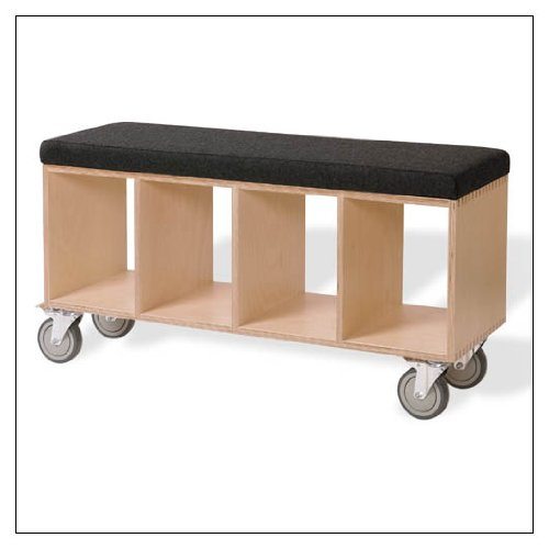 OFFI Birch Bench Box with Upholstered Pad, fabric = Gray Wool; supports = Casters