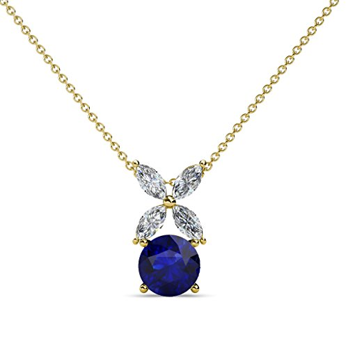 Blue Sapphire and Diamond Floral Pendant 0.76 ct tw in 14K Yellow Gold with 18 Inches 14K Gold Chain