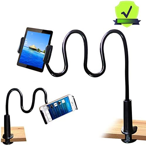 MAGIPEA Tablet Stand Holder, Mount Holder Clip with Grip Flexible Long Arm Gooseneck Compatible with ipad iPhone/Nintendo Switch/Samsung Galaxy Tabs/Amazon Kindle Fire HD – Black