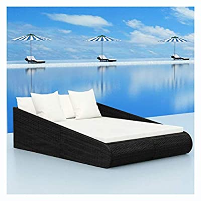 """K&A Company Outdoor Bed, Daybed Poly Rattan 79""""x54.7""""x22.8"""" Black"""