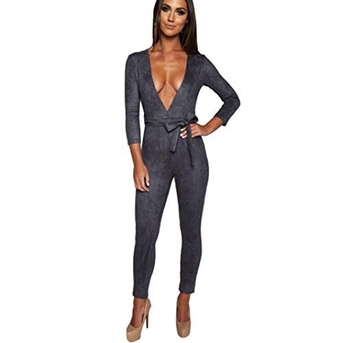 Muranba Sexy Women Deep V 3/4 Sleeve Jumpsuit Trousers Skinny Bodysuit Bodycon (Gray, (Adult Liquid Metallic Pant)