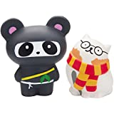 WATINC 2Pcs Animal Squishies, Kawaii Glasses cat&Ninja Panda Cream Scented Slow Rising Squishy, Kid Toy, Lovely Toy,Stress Relief Toy,Decorations Toy Gift Fun(WT-Toy-Glasses cat&Ninja Panda)