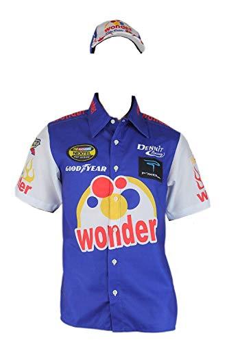 Ricky Bobby Nascar Shirt Talladega Nights Crew + #26 Wonder Bread Cap hat (L) Blue/White