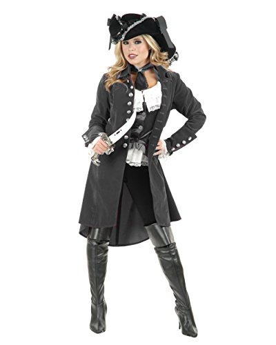 - Charades Women's Gun Metal Grey Pirate Vixen Costume Jacket - Large 11-13