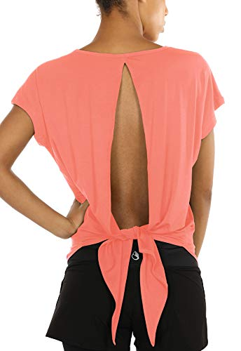 - icyzone Open Back Workout Tops for Women - Athletic Activewear T-Shirts Exercise Yoga Shirts (S, Fusion Coral)