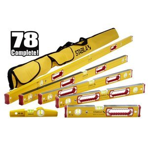 "Stabila 78496 Type 196 Heavy Duty Complete 6 Level Kit - 78""/48""/32""/24""/16""/10"" Die Cast Magnetic Torpedo Level Includes Nylon Carrying Case"