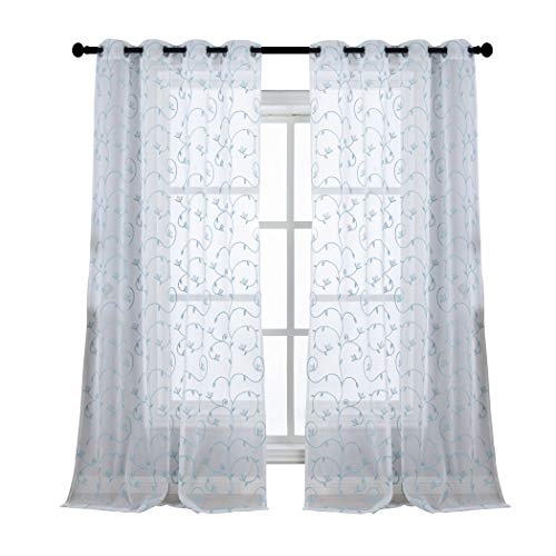Floral Embroidered Semi Sheer Curtains for Living Room,, used for sale  Delivered anywhere in USA