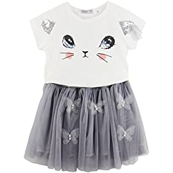 Jastore® Kids Girls Cute Cat Pattern Clothing Sets Top + Butterfly Tutu Skirt (6-7T, Grey)