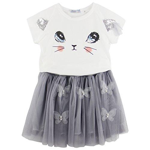 (Jastore Kids Girls Cute Cat Pattern Clothing Sets Top + Tutu Skirt (6-7T, Grey))