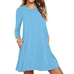 HAOMEILI Women's Long Sleeve Pockets Casual Loose T-Shirt Dresses