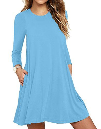 HAOMEILI Women's Long Sleeve Pockets Casual Swing T-Shirt Dresses (X-Large, Long Sleeve-Light ()