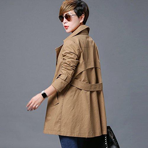 de caqui Mujer Casual abrigos chaqueta Largo suelto Mayihang Caqui y WIOPqdRcPS