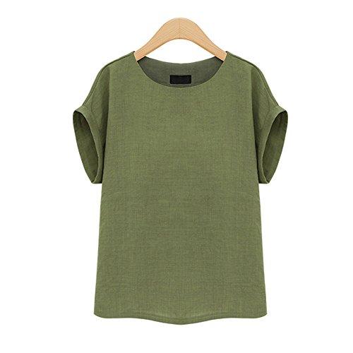 dd2044a708dfe Prapra Women s Casual Loose Short Sleeve Round Collar Cotton Linen Shirt  Blouse Tops Plus Size Blouse