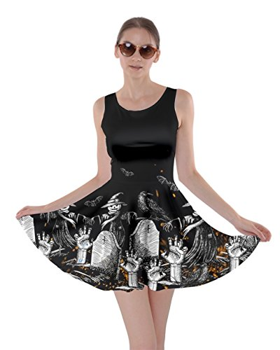 CowCow Womens Halloween Story Halloween Bats Skater Dress, Black - XL -
