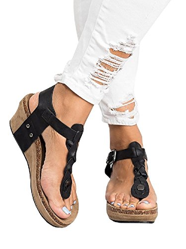 Elegant Womens T 5 Shoes Cork Summer Ladies Wedges 7 Bohemian Slingback 5 Sandals Peep Heels Flops Flip Toe 2 Strap Open Black rRIPqfrw