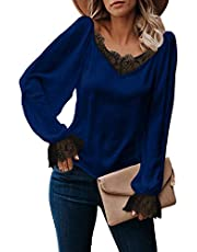 LOLONG Women's Long Sleeve V Neck Stain Lace Solid Tops Light Weight Blouses