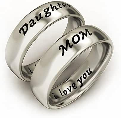 Mother Daughter Jewelry Antique Band Rings Set Engraved ' I love you'
