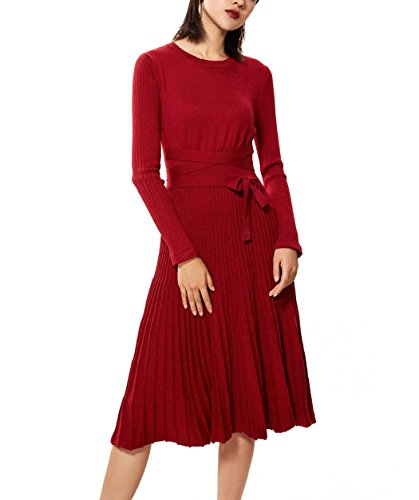 - FINCATI Sweater Dresses Women 2018 Spring Autumn Cashmere Belt Big Swing Pleated Midi Dresses (Wine, L)