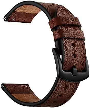 20mm Watch Band, OXWALLEN Quick Release Top Grain Leather Strap Replacements for Classic Watch Band Also fit Samsung Active/Active 2, Galaxy Watch 42mm & Gear S2 Classic/Sport - Coffee