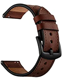 22mm Watch Band, OXWALLEN Leather Watch Band Quick Release Soft Strap fit for Samsung Watch 46mm, Gear S3 Classic/Frontier and Traditional Watch and Smart Watch -Coffee