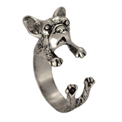 Qiandi Charming Handmade Adjust French Bulldog Animal Rings Christmas Pet Lover Gift Women Men