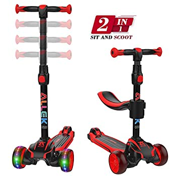 Image of Allek 2-in-1 Kids Kick Scooter D01, Anti Skid 3 Wheel Light Up Push Scooter with Height Adjustable Removable Seat and Shock Absorbing Thick Wide Kickboard for Boys Girls 2-10 (Dual Color Red/Black) Kick Scooters