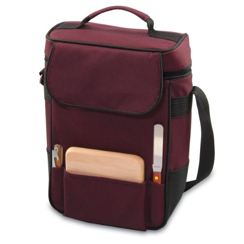 LEGACY - a Picnic Time Brand Duet Insulated Wine and Cheese Tote, - Cooler Burgundy Wine