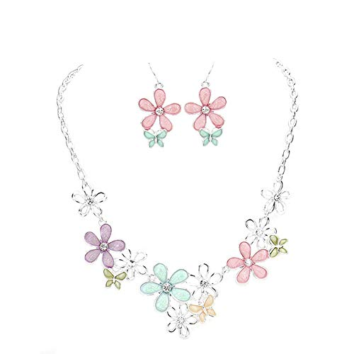 """(Hush Frosted Pastel Pink Lavender Sea Foam Peach & Olive Daisy Floral Silver-Tone Bib Necklace 16"""" w/Earrings)"""