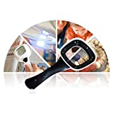 Magnifier HD High Magnification Handheld Magnifying Glass Square Black White with LED Light Portable Reading Magnifier