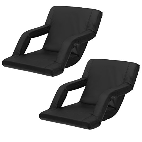SONGMICS Portable Stadium Seat Chair Padded Cushion Shoulder Straps 6 Reclining Positions Bleachers Benches (Foldable Stadium Seat Cushion)