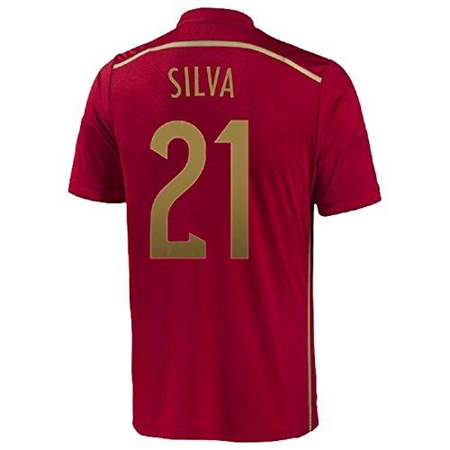 学部長気質当社Adidas Silva #21 Spain Home Jersey World Cup 2014/サッカーユニフォーム スペイン ホーム用 ワールドカップ2014 背番号21 シルバ