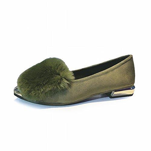 Zapatos Planos de Poca Profundidad de Los Zapatos de Las Señoras de la Felpa Solos Bajos de la Moda Todo el Fósforo Bajo con Grueso con Los Zapatos Simples , verde , EUR36.5