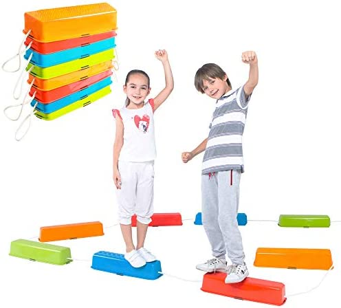 Strength Child Safe Rubber Bottom Special Supplies 20 Piece Stepping Stones for Kids Indoor and Outdoor Balance Blocks Promote Coordination Balance