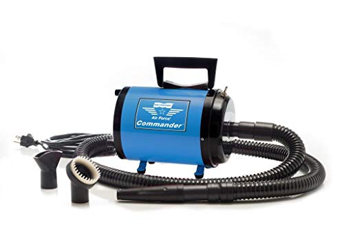 Metrovac's Air Force Commander Professional Pet Grooming Dryer - Portable, Variable Speed 4.0HP Motor - Ideal for Double-Coated Dogs - 5 Unique Colors (Blue-220V)