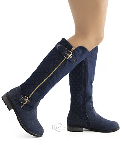 Forever Link Women's MANGO-21 Quilted Zipper Accent Riding Boots Blue *M