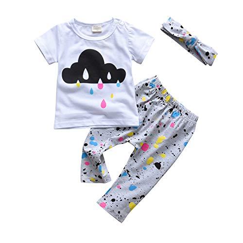 3Pcs Baby Girl Short Sleeve Rain Cloud T-Shirt Tops Colourful Pants Headband Outfits Set (18-24 Months) White