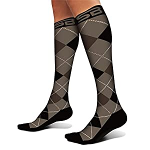 SB SOX Compression Socks (20-30mmHg) for Men & Women - BEST Stockings for Running, Medical, Athletic, Edema, Diabetic, Varicose Veins, Travel, Pregnancy, Shin Splints. (Dress - Black Argyle, Large)