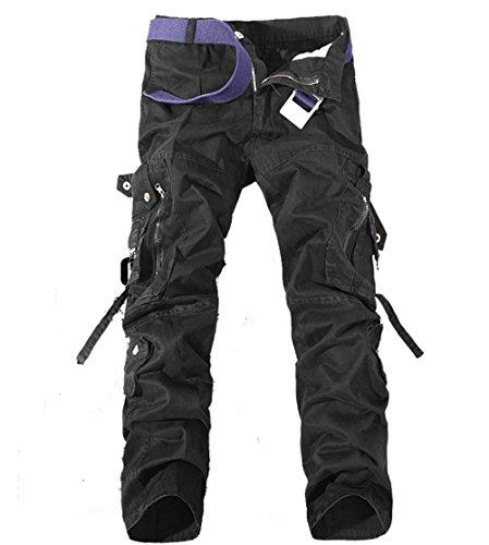 [OSdream Multi Pocket Tactical Pants , Battle Strike Uniform TROUSERS, Camping Hiking Hunting Paintball Airsoft Pants (Black, S-long 31